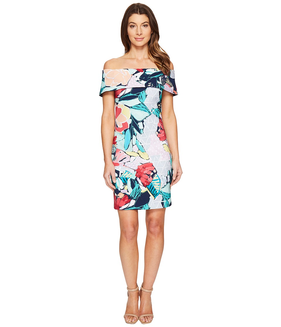 Laundry by Shelli Segal Printed Off the Shoulder Dress (Peacoat) Women