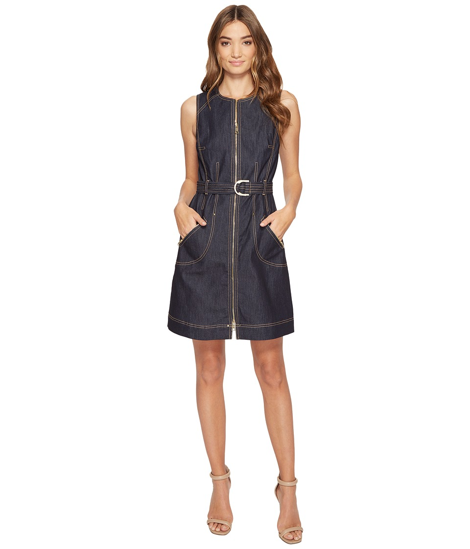 Laundry by Shelli Segal - Zip Front Denim A-Line Dress (Dark Denim) Women's Dress