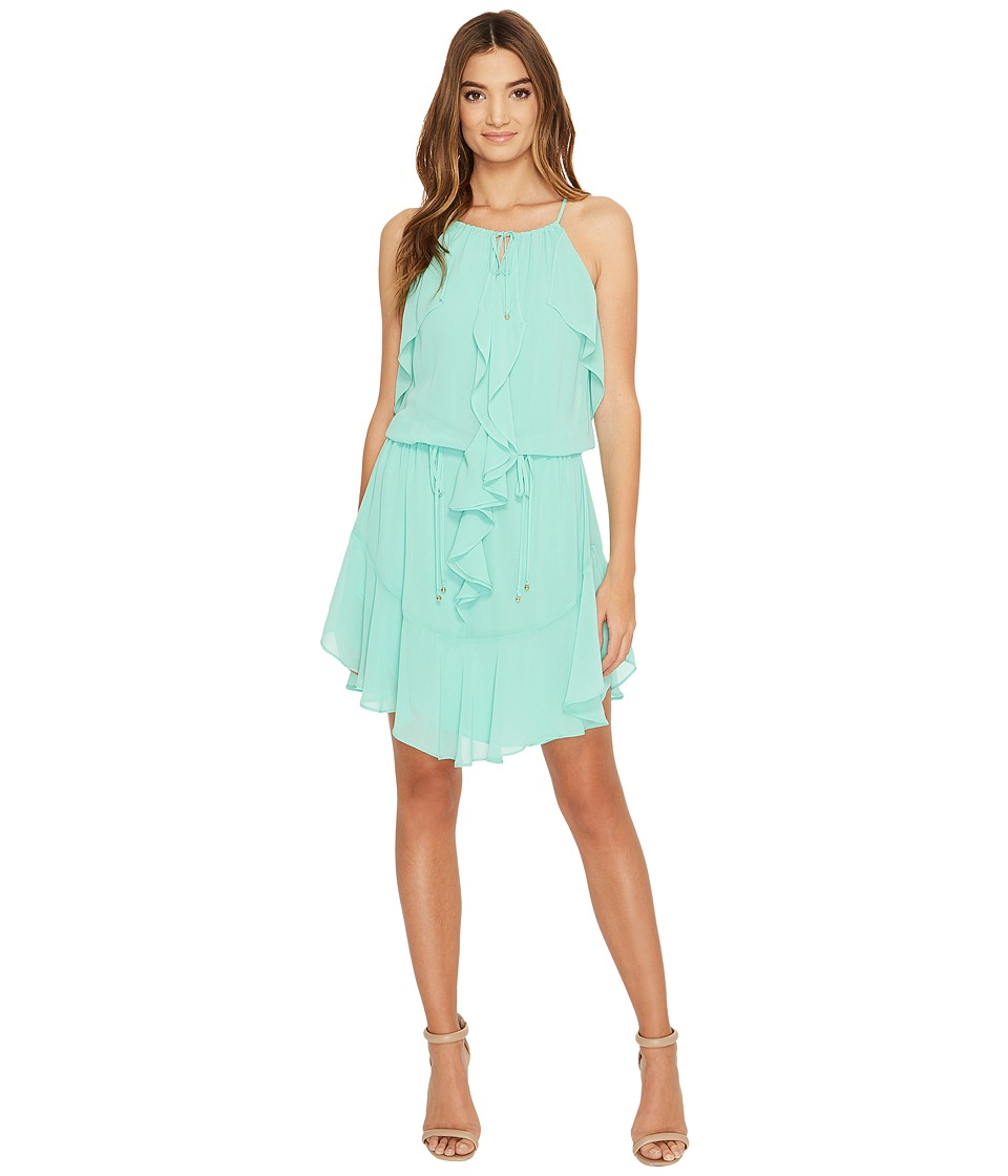 Laundry by Shelli Segal - Boho Chic Ruffle Dress w/ Tie Details (Dusty Jade Green) Women's Dress