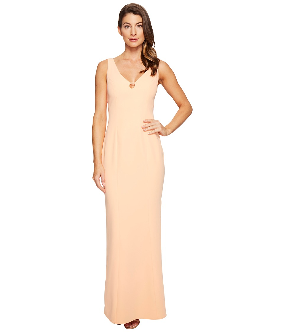 Laundry by Shelli Segal - V-Neck Cut Out Stretch Crepe Gown (Salmon Buff) Women's Dress