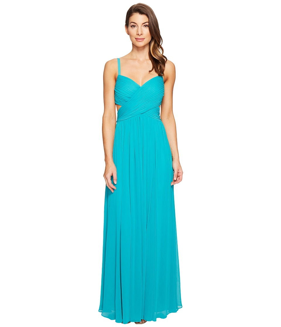 Laundry by Shelli Segal Crisscross Front Pleated Gown Tropical Green Dress