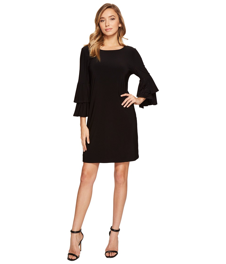 Laundry by Shelli Segal - Shift Dress w/ Knife Pleat Sleeve (Black) Women's Dress