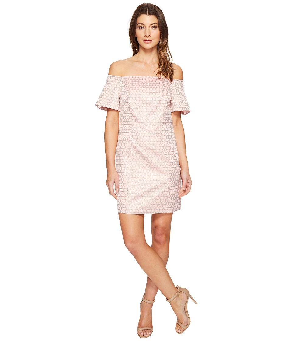 Laundry by Shelli Segal - Off the Shoulder Metallic Dot Jacquard Shift Dress (Hot Pink) Women's Dress