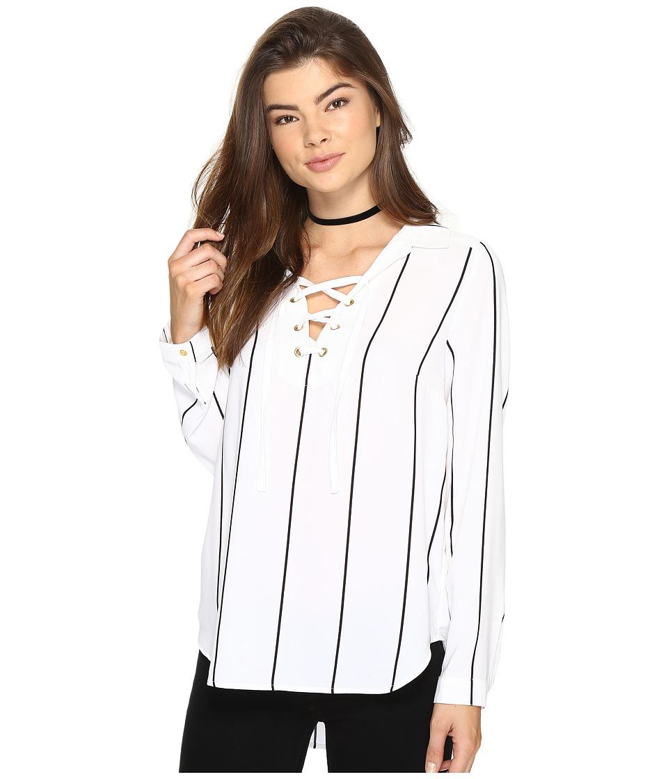 kensie - Straight Lines Top KS2K40S4 (White Combo) Women's T Shirt