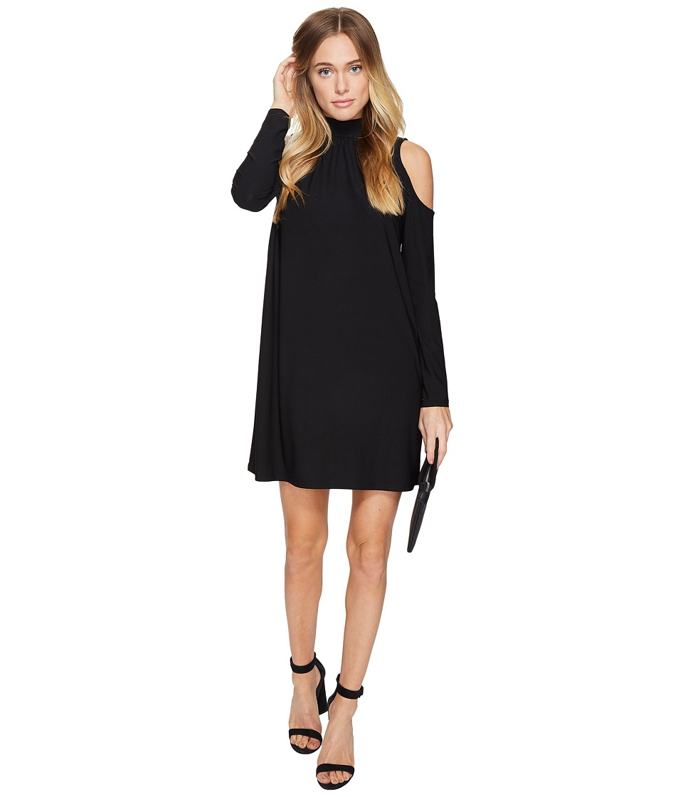 kensie - Slinky Knit Cold Shoulder Dress KS2K7728 (Black) Women's Dress