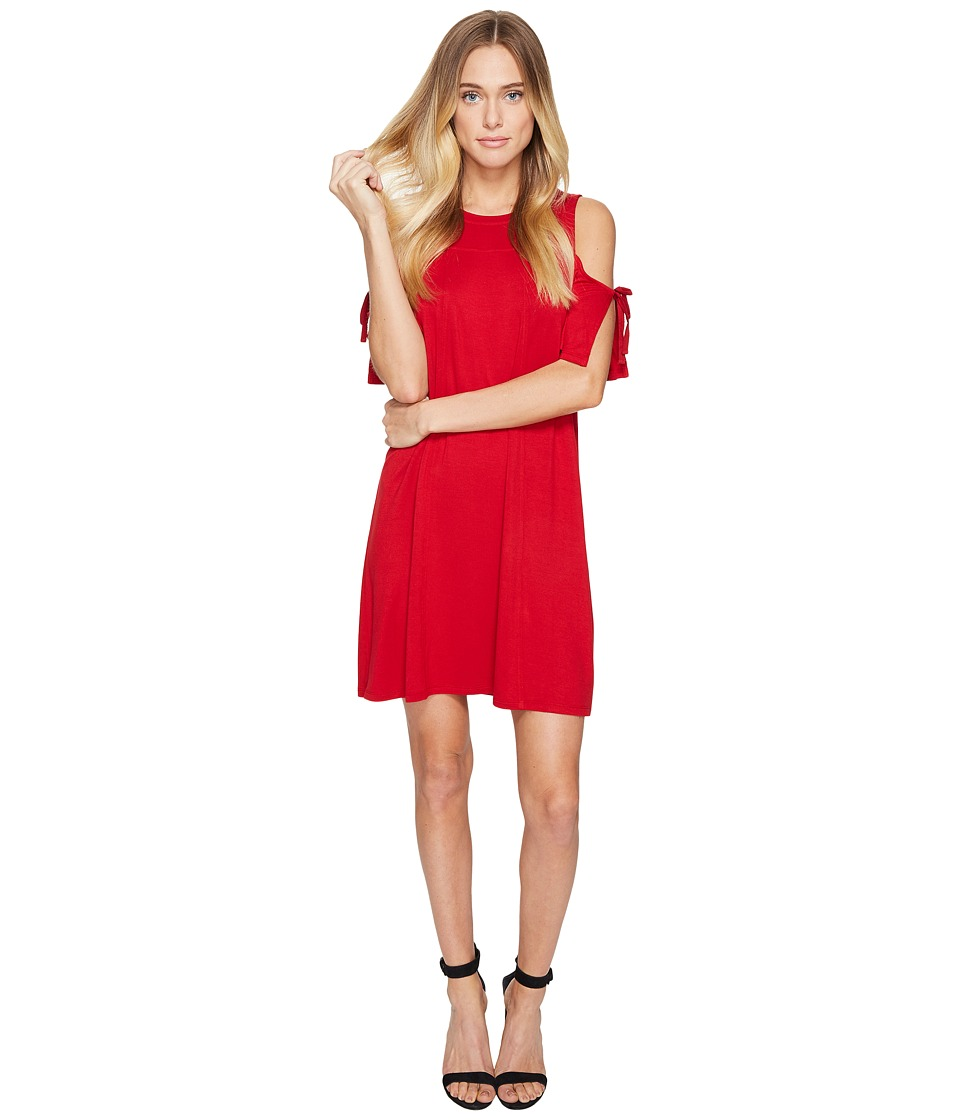 kensie Drapey French Terry Dress with Cold Shoulder KS2K7541 (Red Lipstick) Women