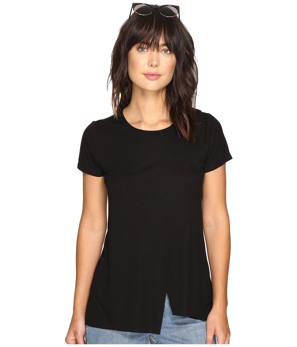 kensie - Slubby Rib Jersey Top KS3K3578 (Black) Women's Clothing