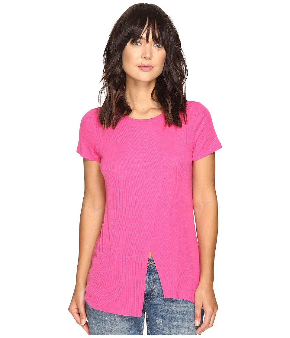 kensie - Slubby Rib Jersey Top KS3K3578 (Bright Fuchsia) Women's Clothing