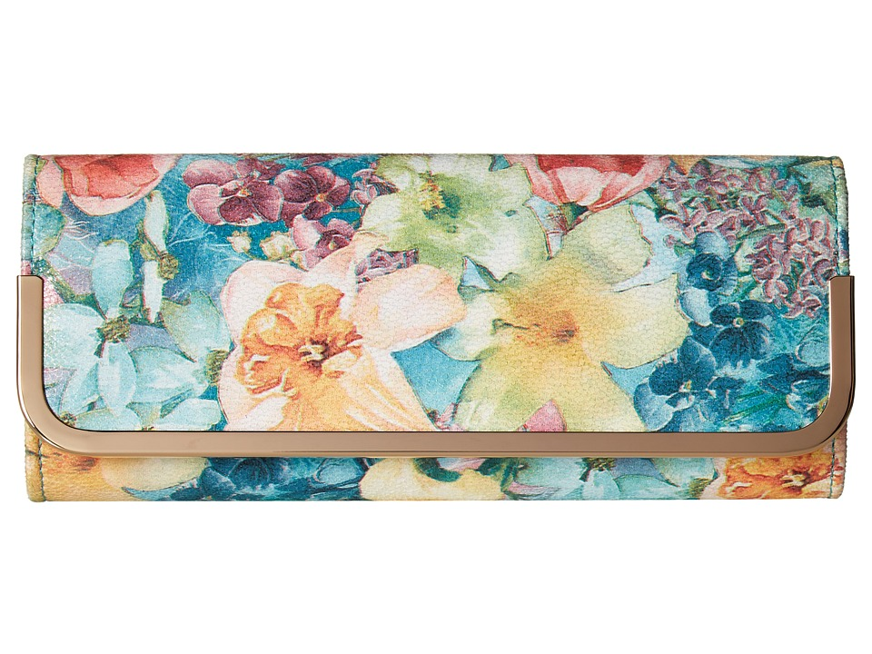 Jessica McClintock - Addison Soft Floral Flap Clutch (Floral) Clutch Handbags