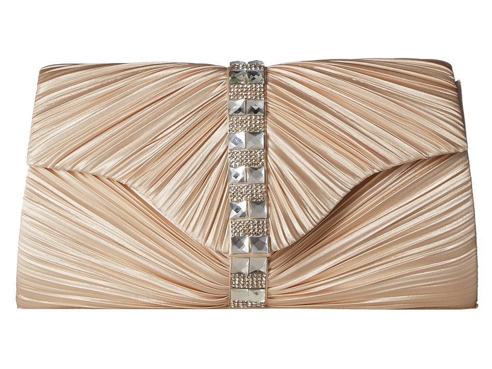 Jessica McClintock - Florence Satin with Pleats and Stones (Champagne) Handbags