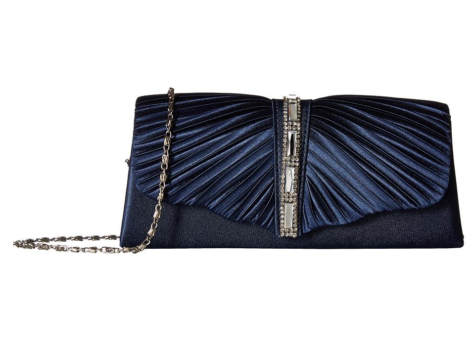 Jessica McClintock - Andrea Satin with Stones (Navy) Handbags