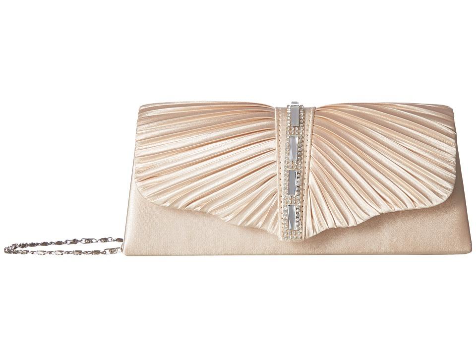 Jessica McClintock - Andrea Satin with Stones (Champagne) Handbags