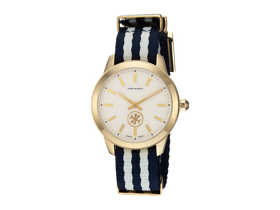 Tory Burch - Collins Preppy - TB1209 (Navy/Ivory Stripe) Watches