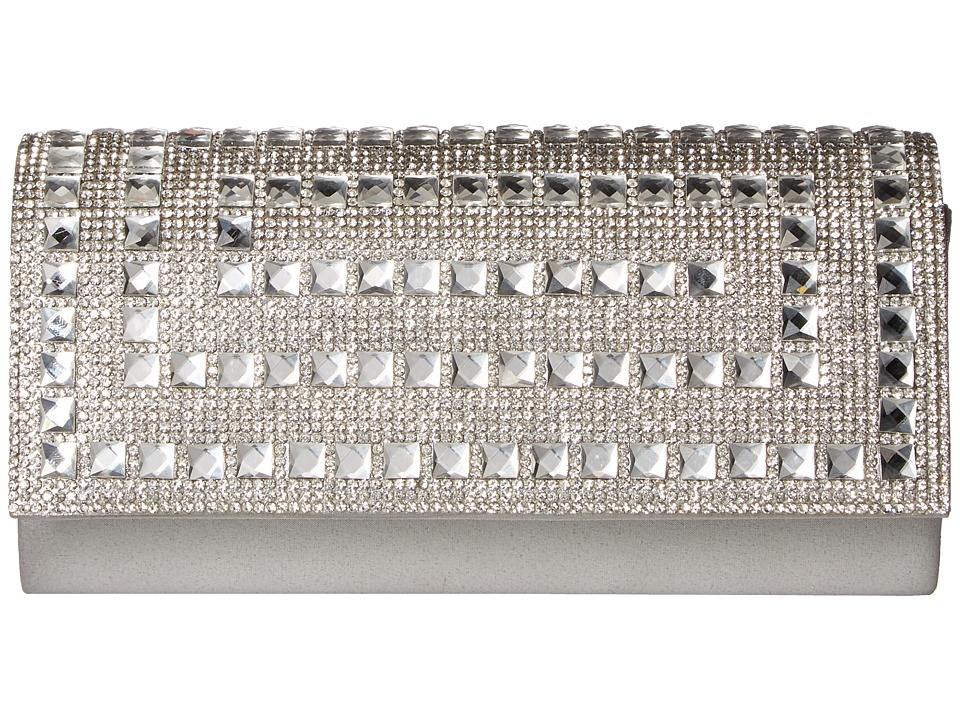 Jessica McClintock - Chloe Shimmer with Stones Clutch (Silver) Clutch Handbags