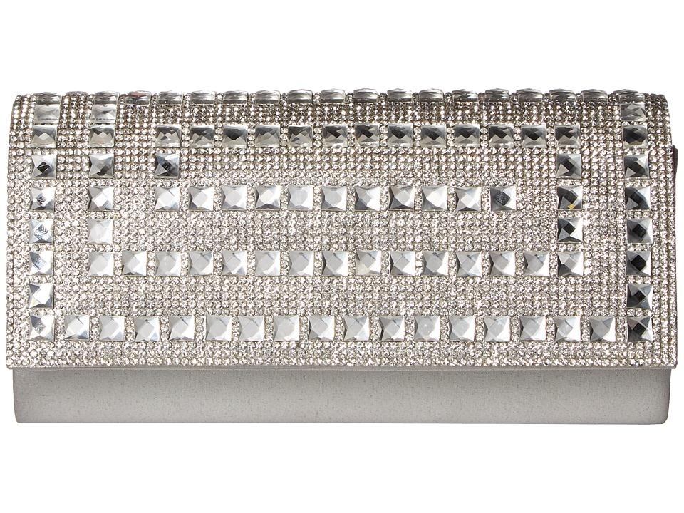 Jessica McClintock - Chloe Shimmer with Stones Clutch (Silver) Clutch Handbags