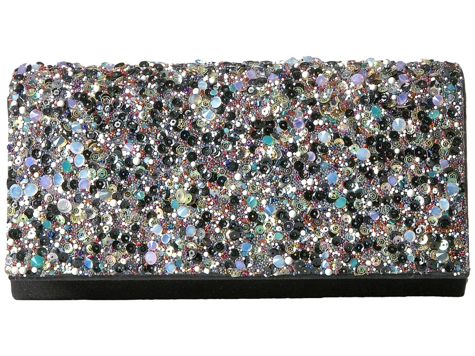 Jessica McClintock - Chloe Shimmer with Rocks Clutch (Black) Clutch Handbags