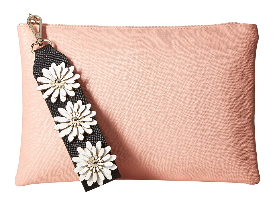 Jessica McClintock Gigi Flower Applique Pouch Clutch (Blush) Clutch Handbags