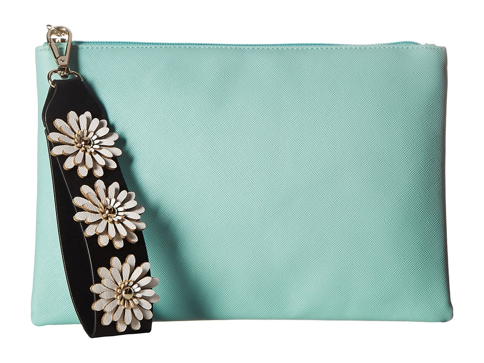 Jessica McClintock Gigi Flower Applique Pouch Clutch (Teal) Clutch Handbags