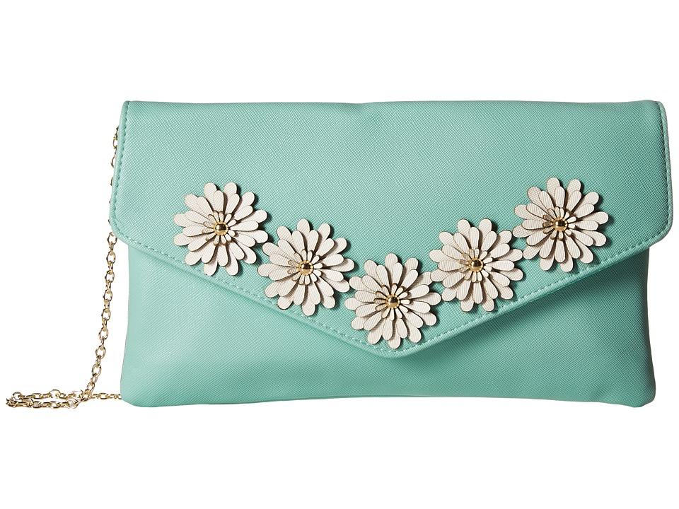 Jessica McClintock Arielle Flower Applique Envelope Clutch (Teal) Clutch Handbags