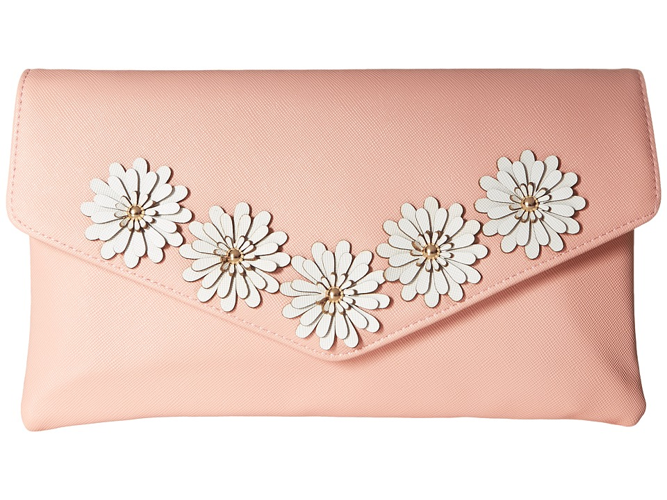 Jessica McClintock - Arielle Flower Applique Envelope Clutch (Blush) Clutch Handbags