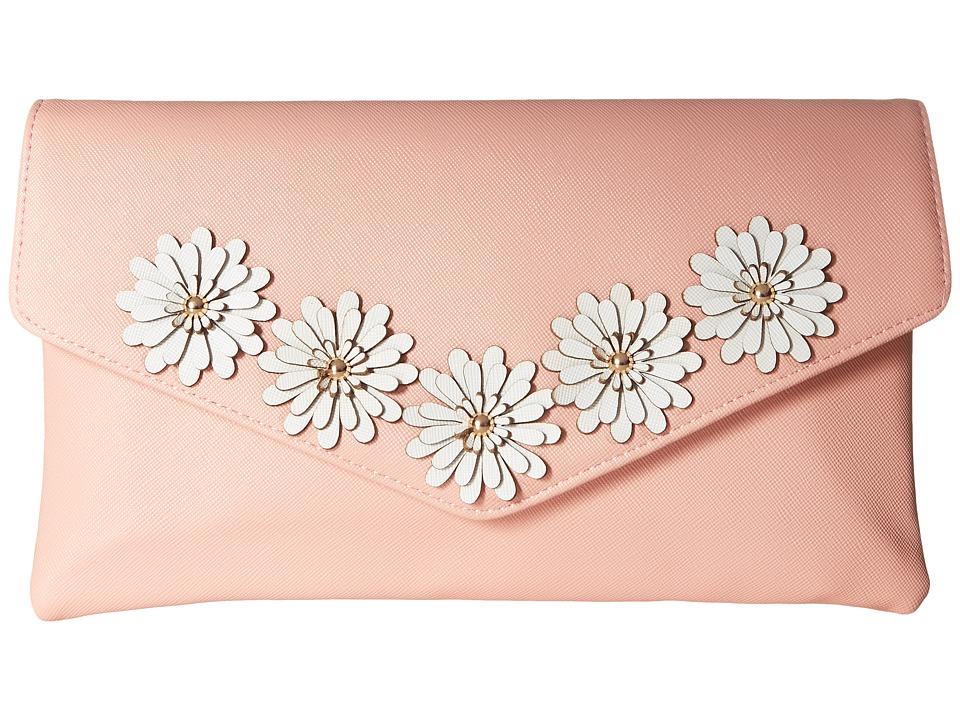 Jessica McClintock Arielle Flower Applique Envelope Clutch (Blush) Clutch Handbags