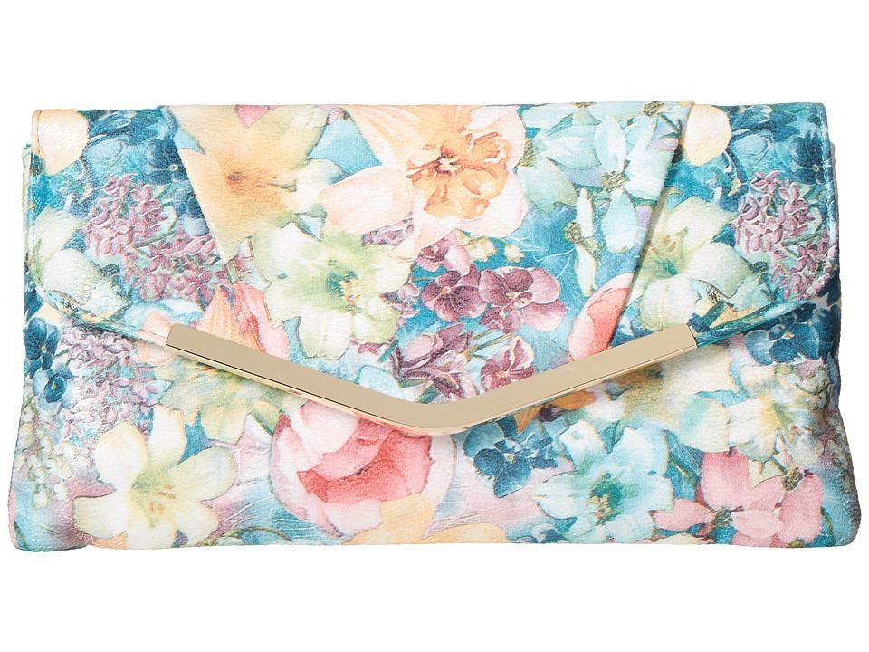 Jessica McClintock Arielle Soft Floral Envelope Clutch (Floral) Clutch Handbags