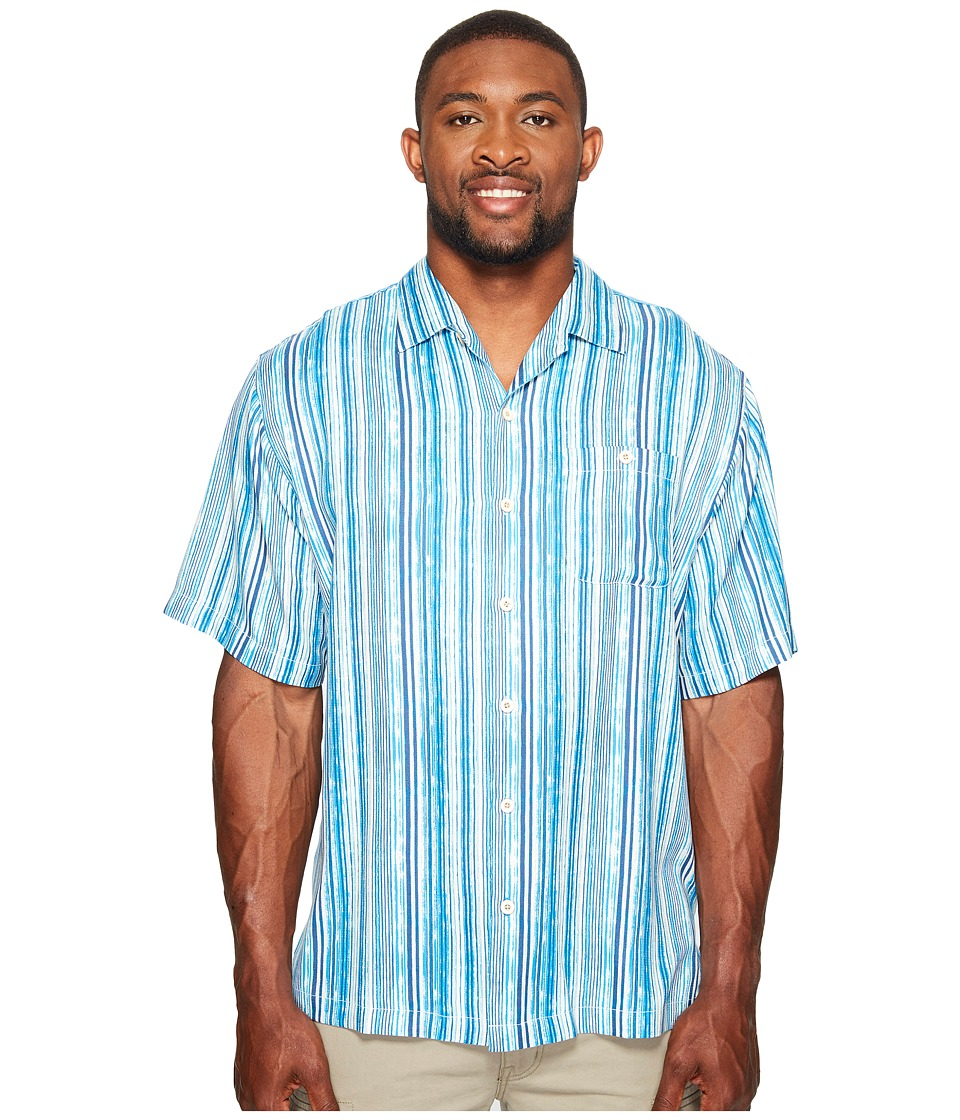Tommy Bahama Big & Tall - Big Tall Stripe Me to Paradise Camp Shirt (Blue Danube) Men's Clothing