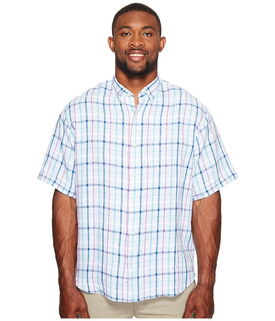 Tommy Bahama Big & Tall - Big Tall Celestia Plaid Camp Shirt (Fresh Air) Men's Clothing