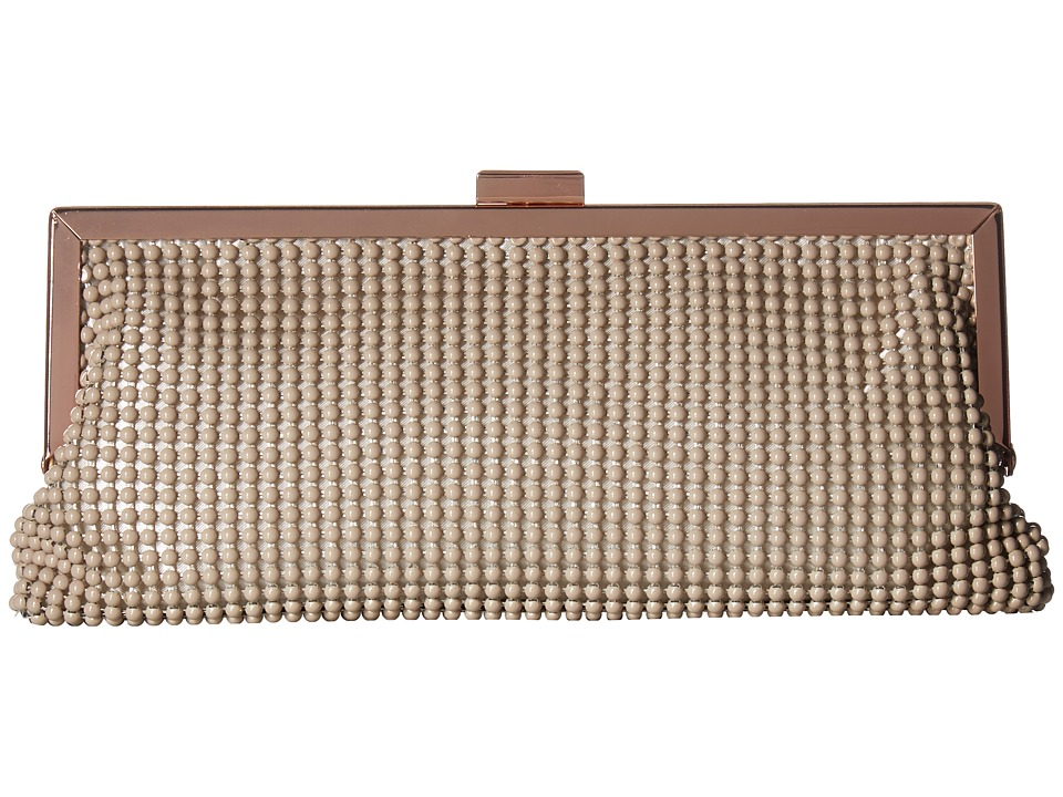 Jessica McClintock - Erin Ball Mesh Frame Clutch (Taupe) Clutch Handbags