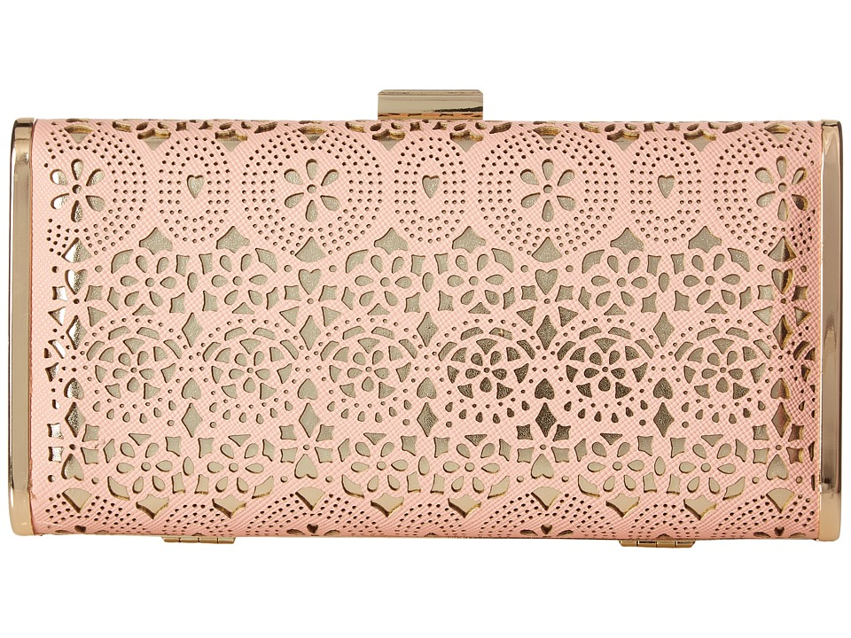 Jessica McClintock - Heather Perforated Minaudiere (Blush) Handbags