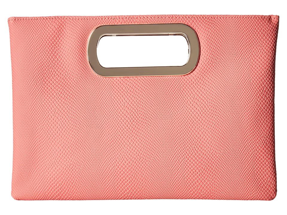 Jessica McClintock - Tiffany Snake Print Handle Clutch (Coral) Clutch Handbags