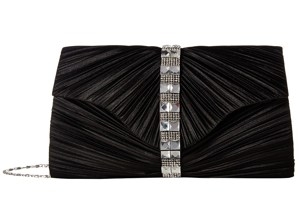 Jessica McClintock - Florence Satin with Pleats and Stones (Black) Handbags