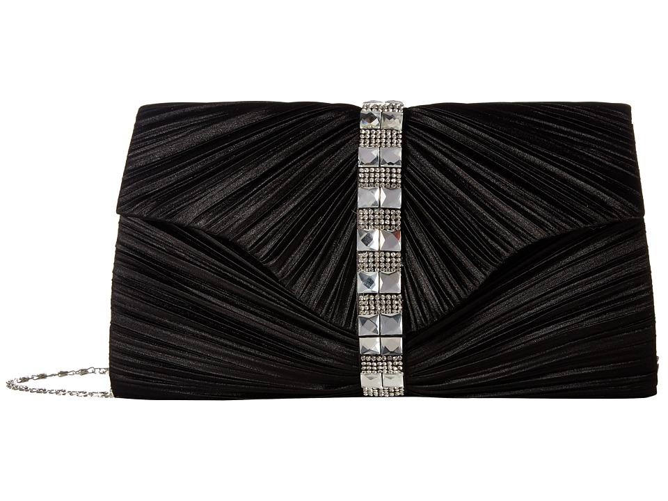 Jessica McClintock - Florence Satin with Pleats and Stones (Black) Handbags