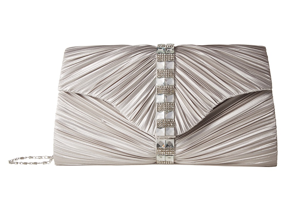 Jessica McClintock - Florence Satin with Pleats and Stones (Silver) Handbags