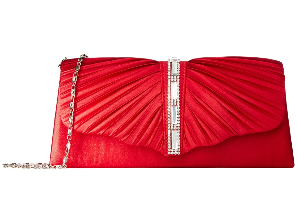 Jessica McClintock - Andrea Satin with Stones (Red) Handbags