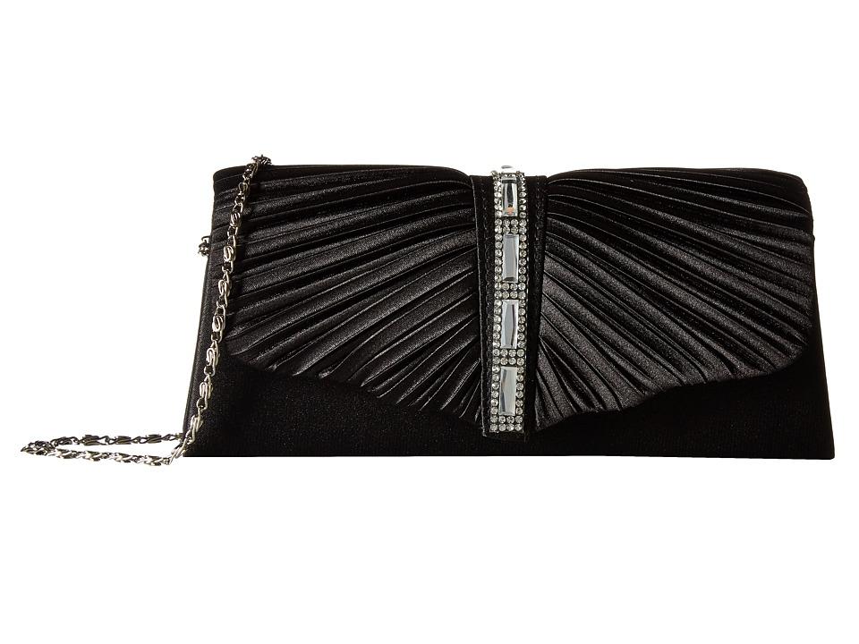 Jessica McClintock - Andrea Satin with Stones (Black) Handbags