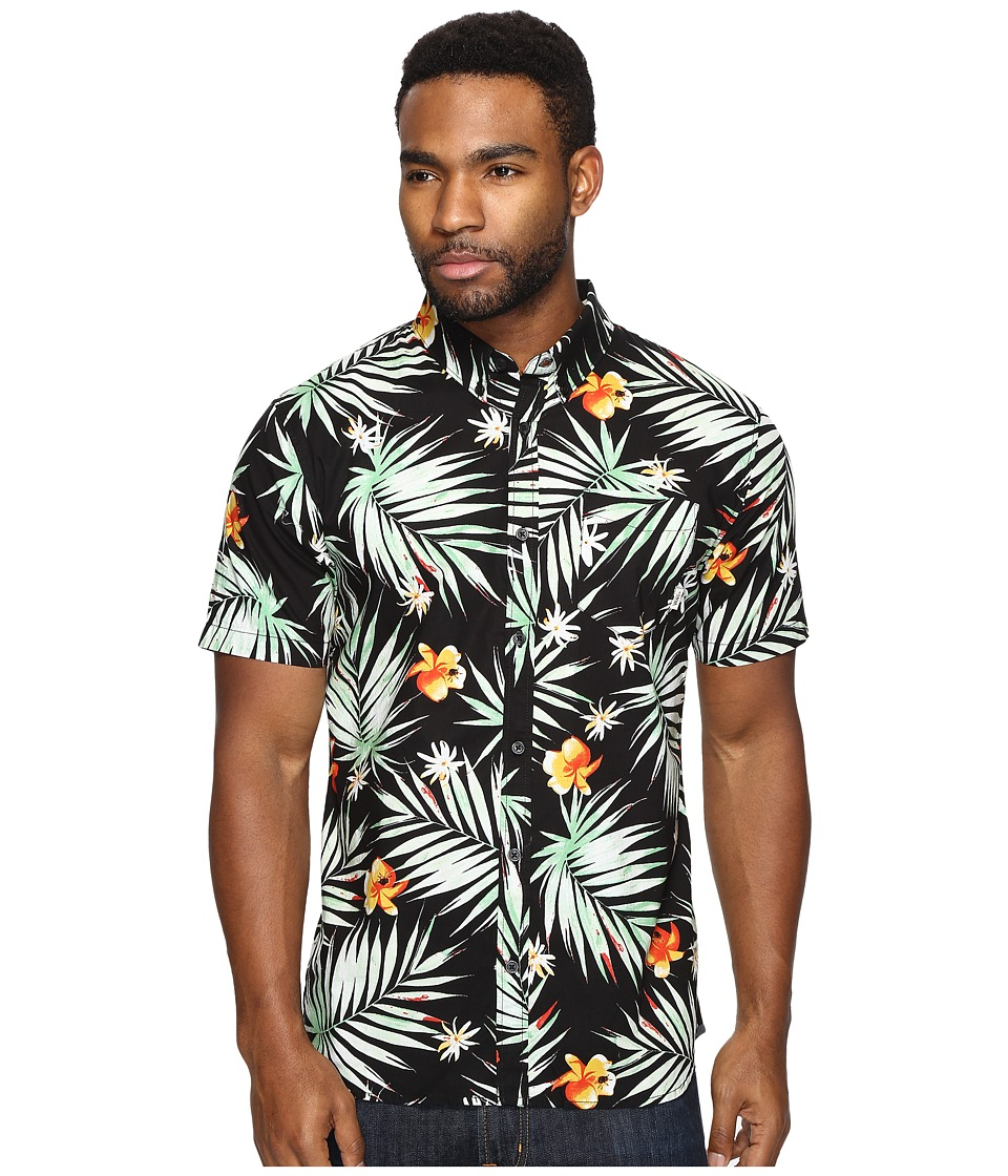 Vans - Daintree Short Sleeve Woven (Black Decay Palm) Men's Clothing
