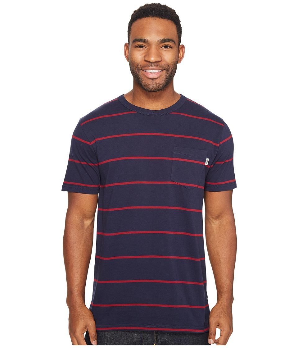 Vans - Enright Short Sleeve Crew (Dress Blues/Rhubarb) Men's Clothing