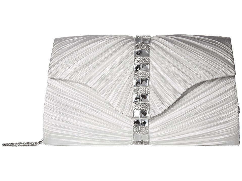 Jessica McClintock - Florence Satin with Pleats and Stones (White) Handbags