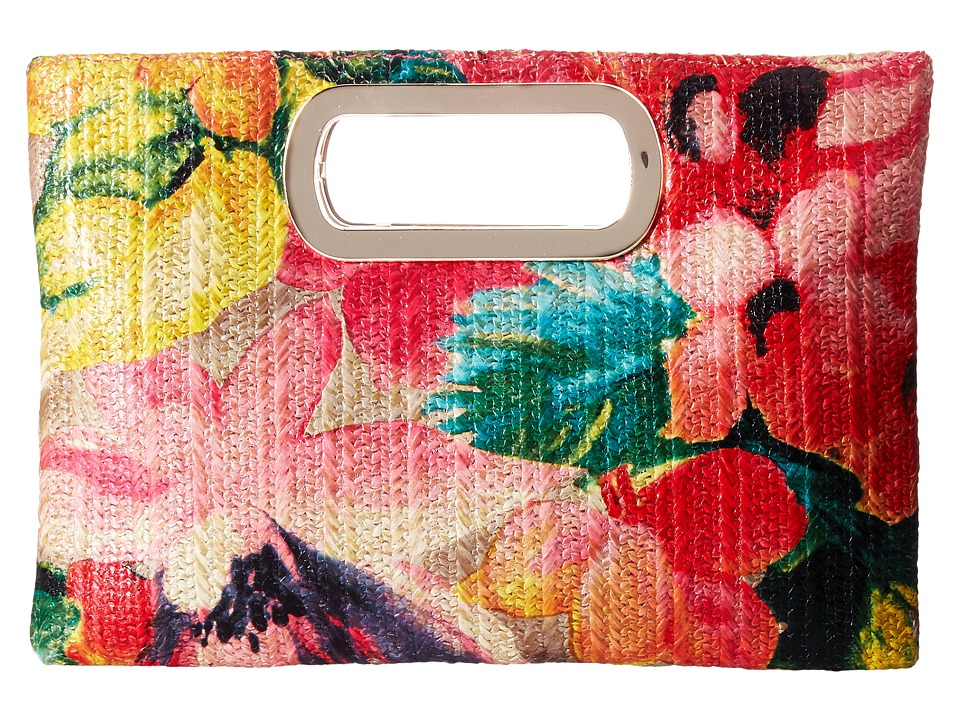 Jessica McClintock - Tiffany Printed Floral Straw Handle Clutch (Floral) Clutch Handbags