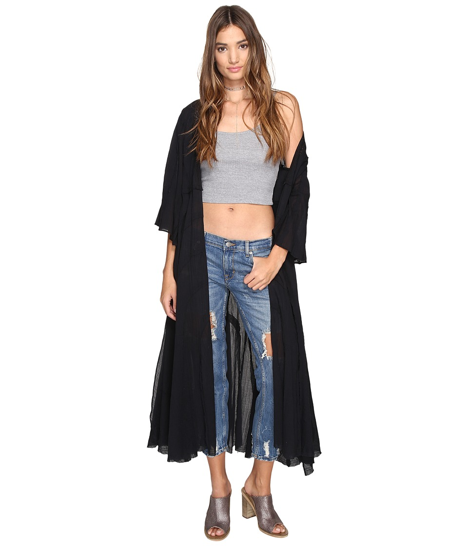 Free People - Curved Gauze Duster (Black) Women's Coat