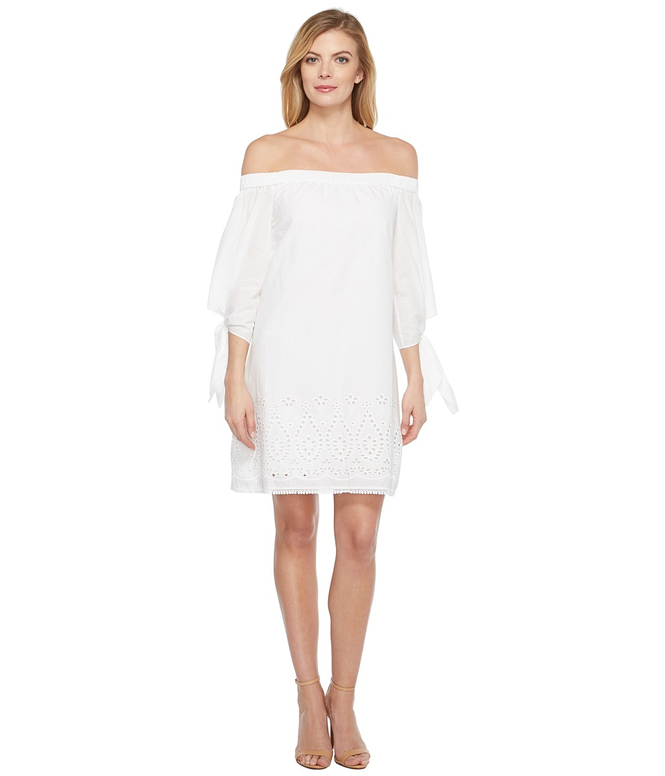 Laundry by Shelli Segal - Off the Shoulder Tie Sleeve Dress w/ Embroidered Hem (Optic White) Women's Dress