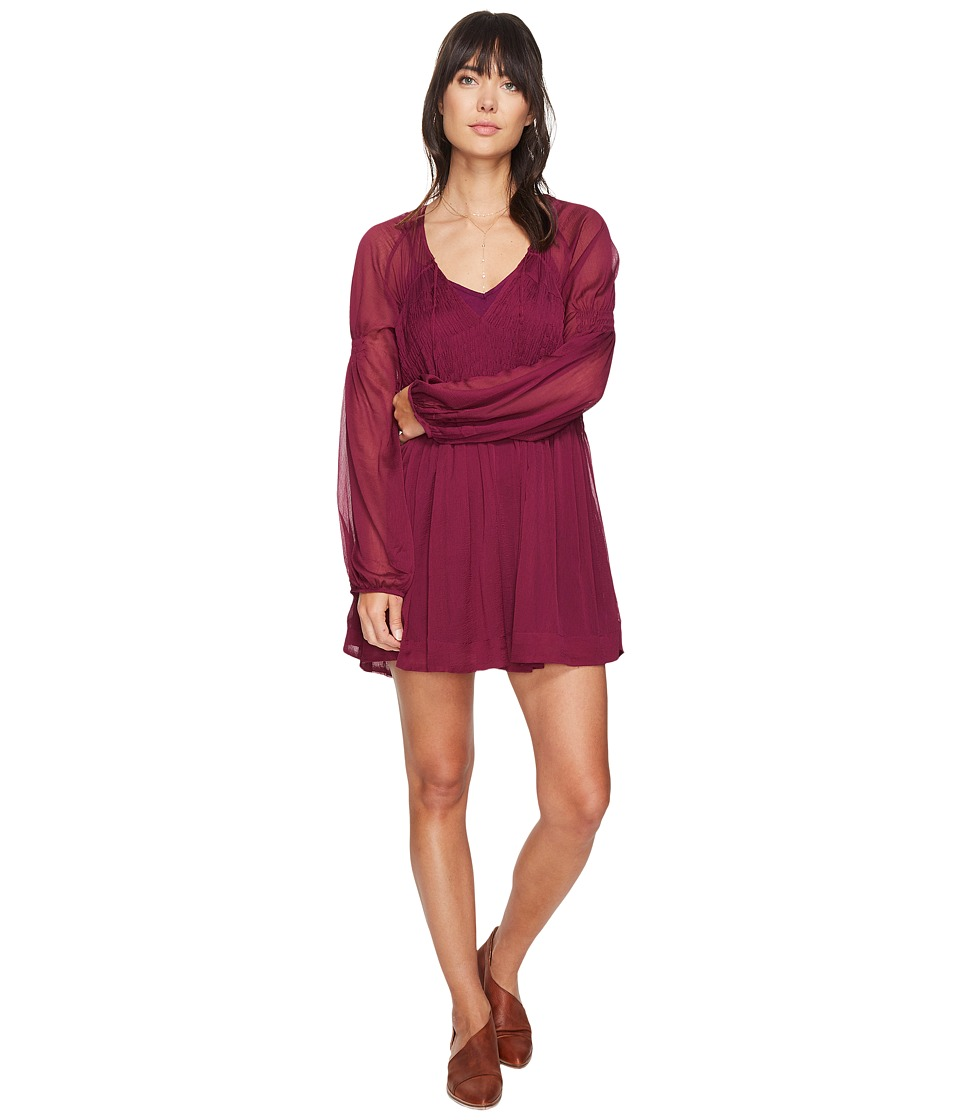 Free People - Lini Smocked Mini Dress (Wine) Women's Dress