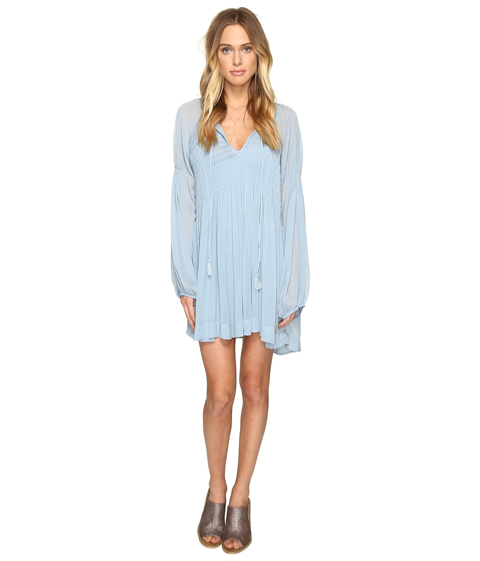 Free People - Lini Smocked Mini Dress (Blue) Women's Dress