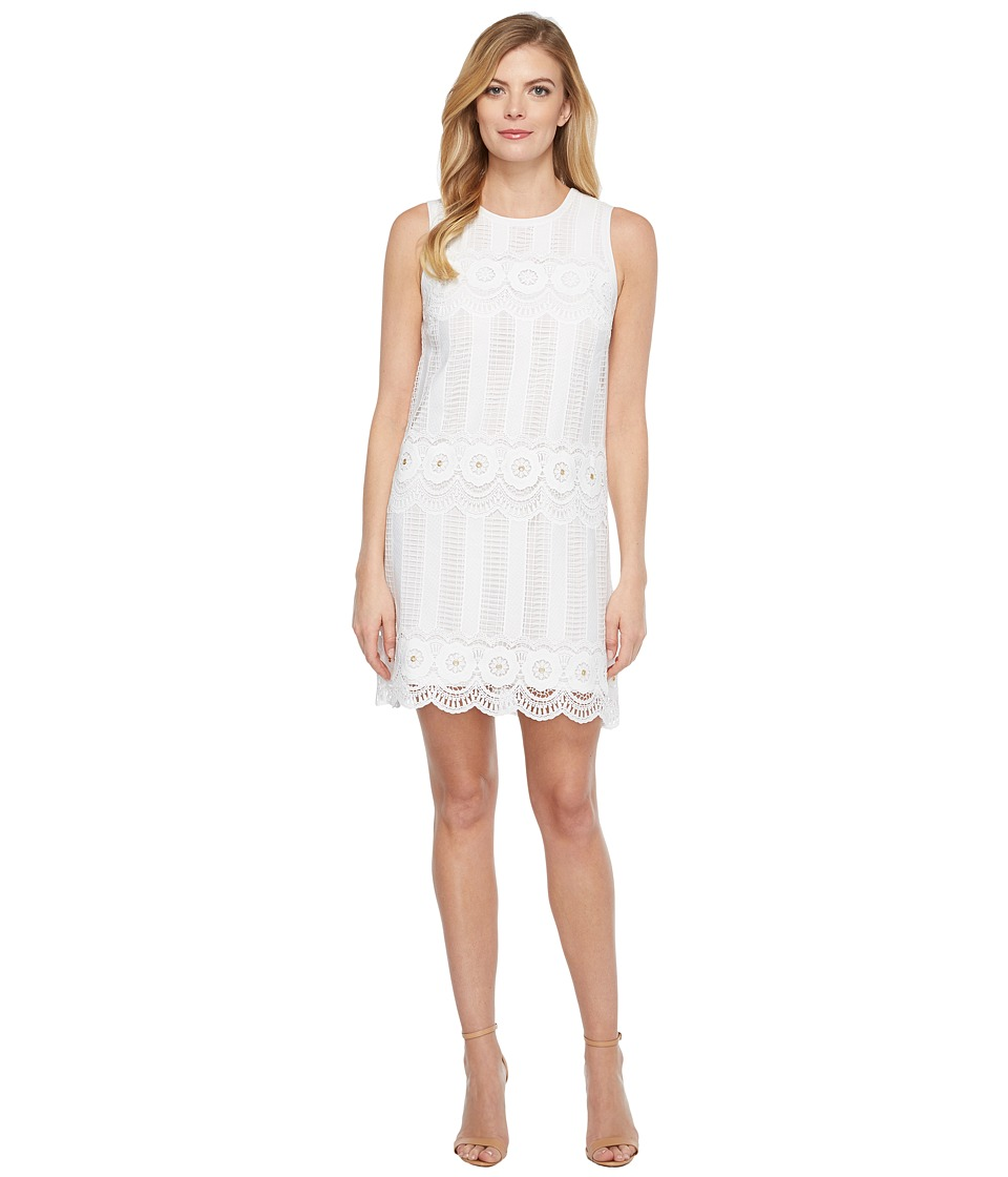 Laundry by Shelli Segal - Venise Dress w/ Metal Eyelet Details (White) Women's Dress