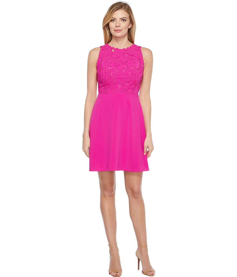 Laundry by Shelli Segal - Embroidered Mixed Fabric A-Line Sheath Dress (Electric Pink) Women's Dress