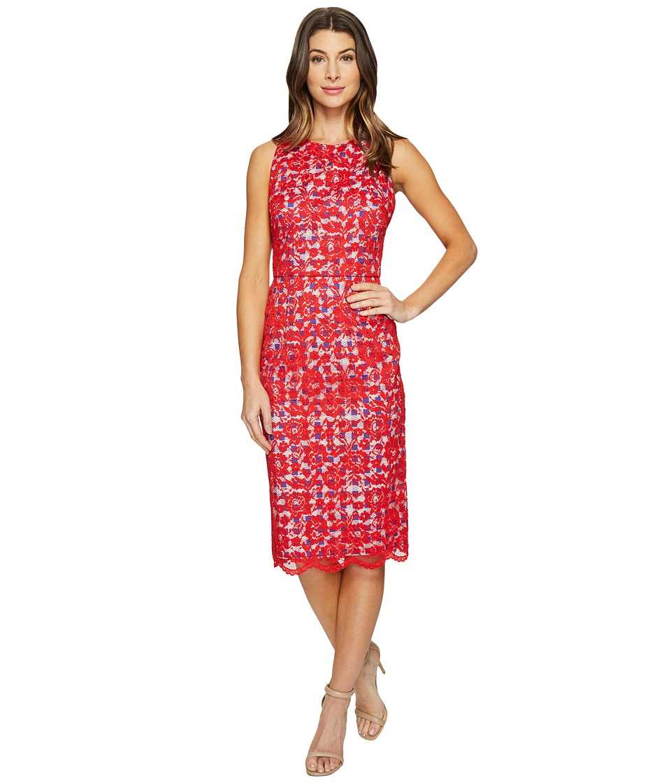 Maggy London Rose Bloom Lace Sheath Dress with Gingham (Bright Red) Women