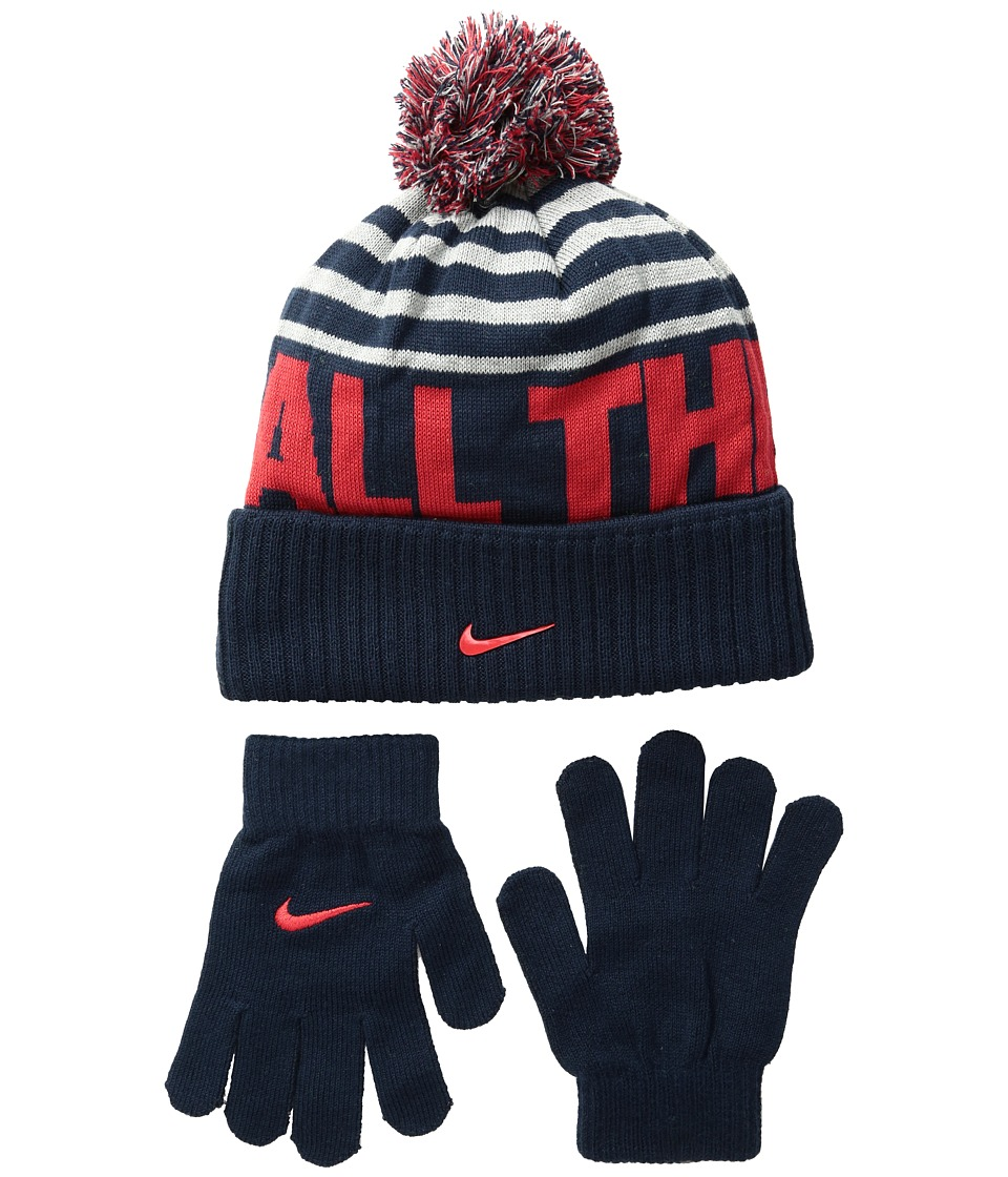Nike Kids - Attitude Knit Beanie Gloves Set (Big Kids) (Obsidian/Dark Grey Heather) Beanies