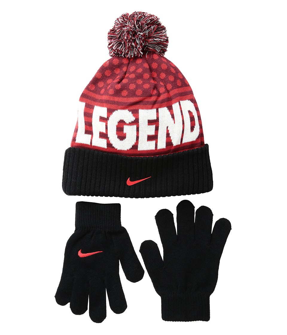 Nike Kids - Attitude Knit Beanie Gloves Set (Big Kids) (University Red) Beanies