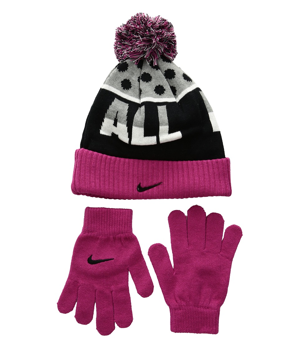 Nike Kids - Attitude Knit Beanie Gloves Set (Little Kids/Big Kids) (Vivid Pink) Beanies